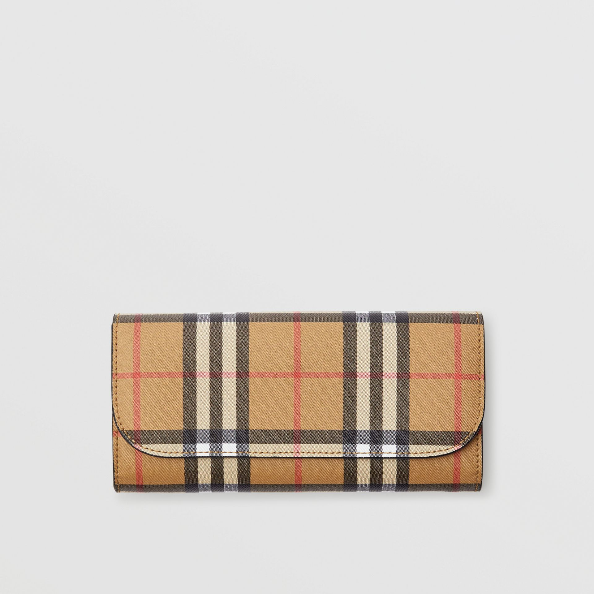 Vintage Check and Leather Continental Wallet in Black - Women | Burberry Canada - gallery image 0