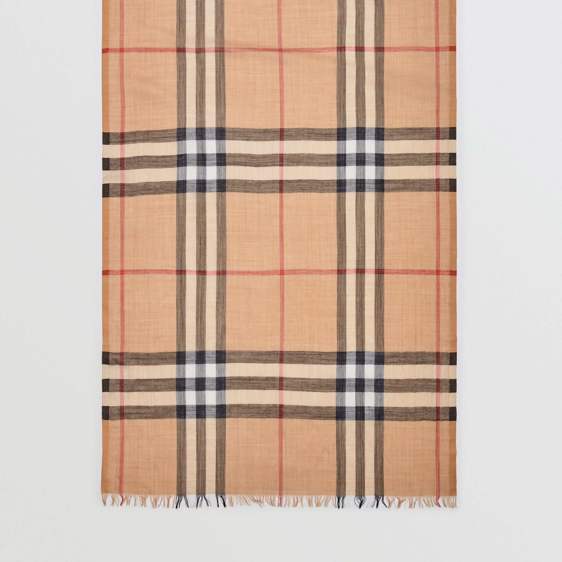 Lightweight Check Wool and Silk Scarf in Camel | Burberry Australia - gallery image 4