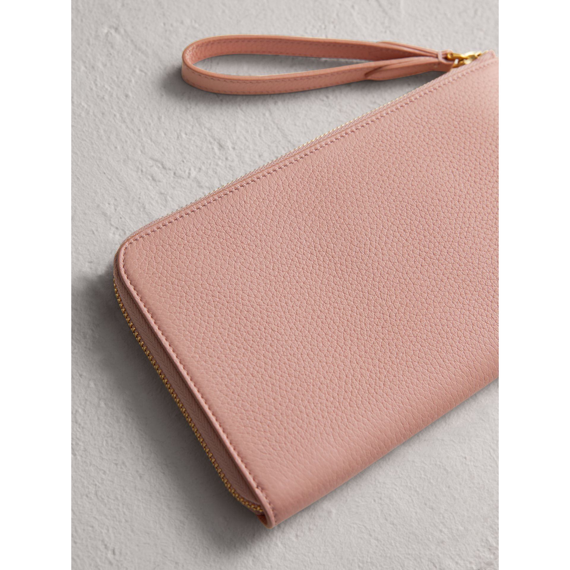 Embossed Leather Travel Wallet in Pale Ash Rose | Burberry - gallery image 2