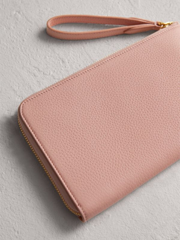 Embossed Leather Travel Wallet in Pale Ash Rose | Burberry - cell image 2