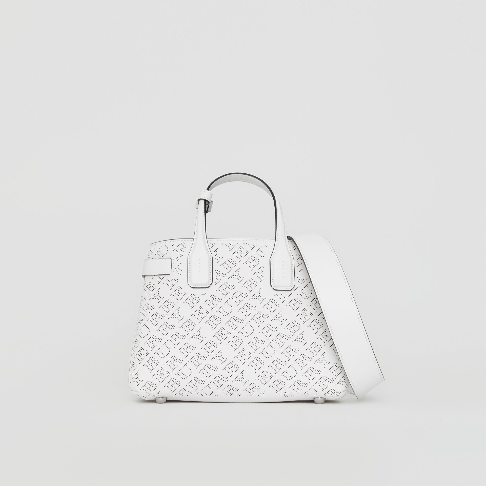 The Small Banner in Perforated Logo Leather in Chalk White - Women | Burberry United States - gallery image 0