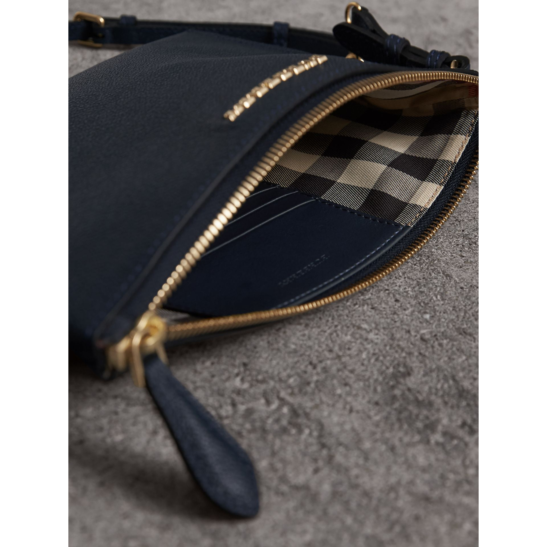 Leather Clutch Bag with Check Lining in Blue Carbon - Women | Burberry Canada - gallery image 6