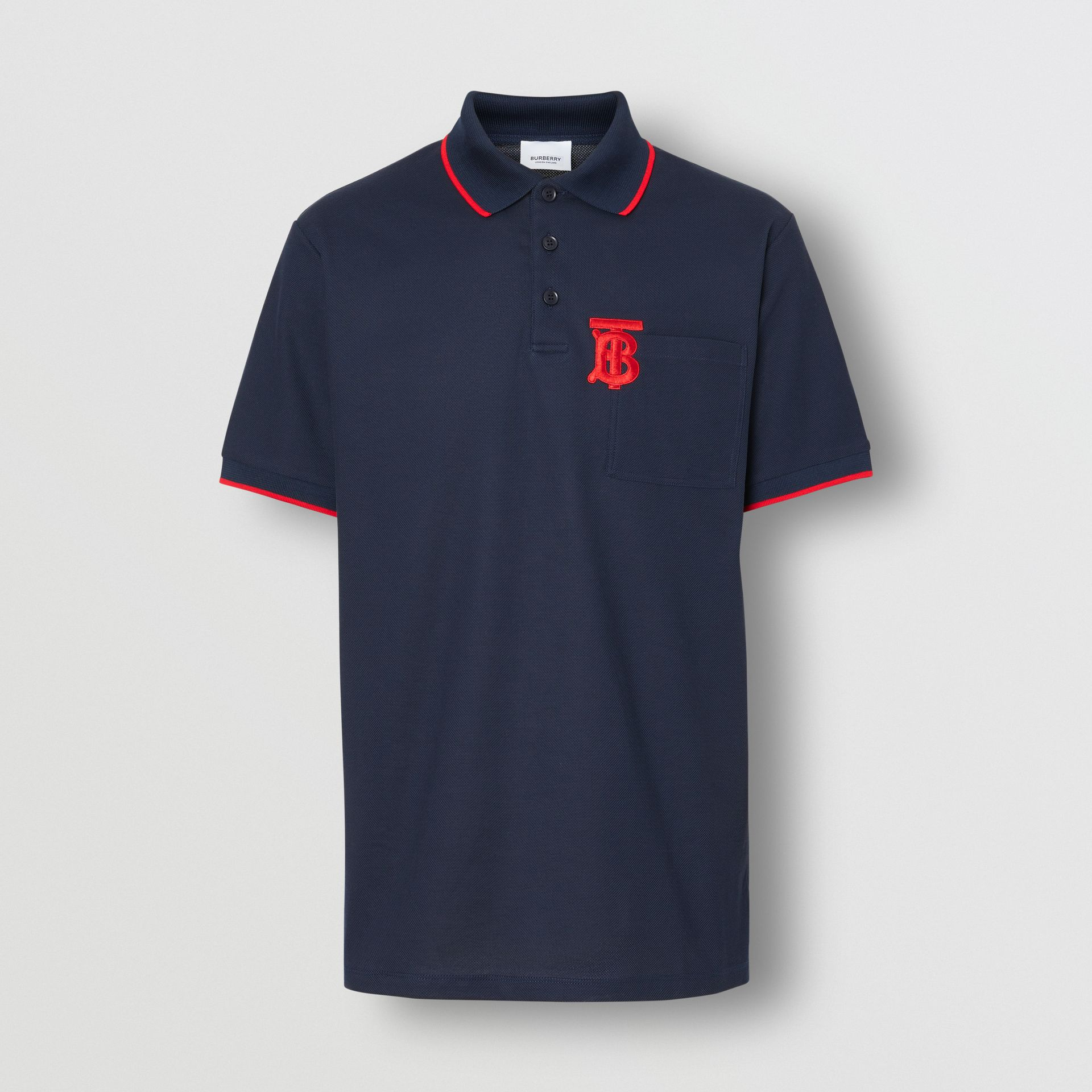 Monogram Motif Tipped Cotton Piqué Polo Shirt in Navy - Men | Burberry - gallery image 3