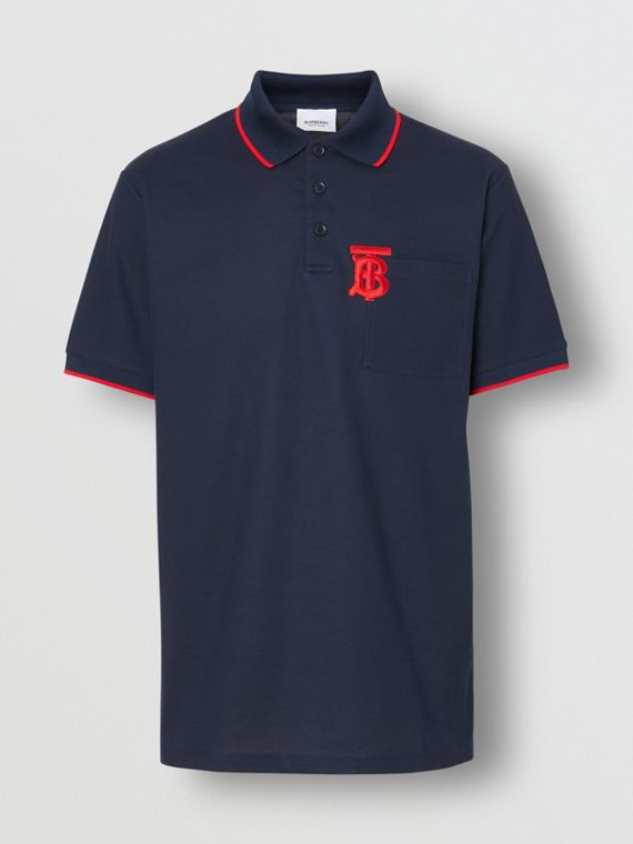 Monogram Motif Tipped Cotton Piqué Polo Shirt in Navy