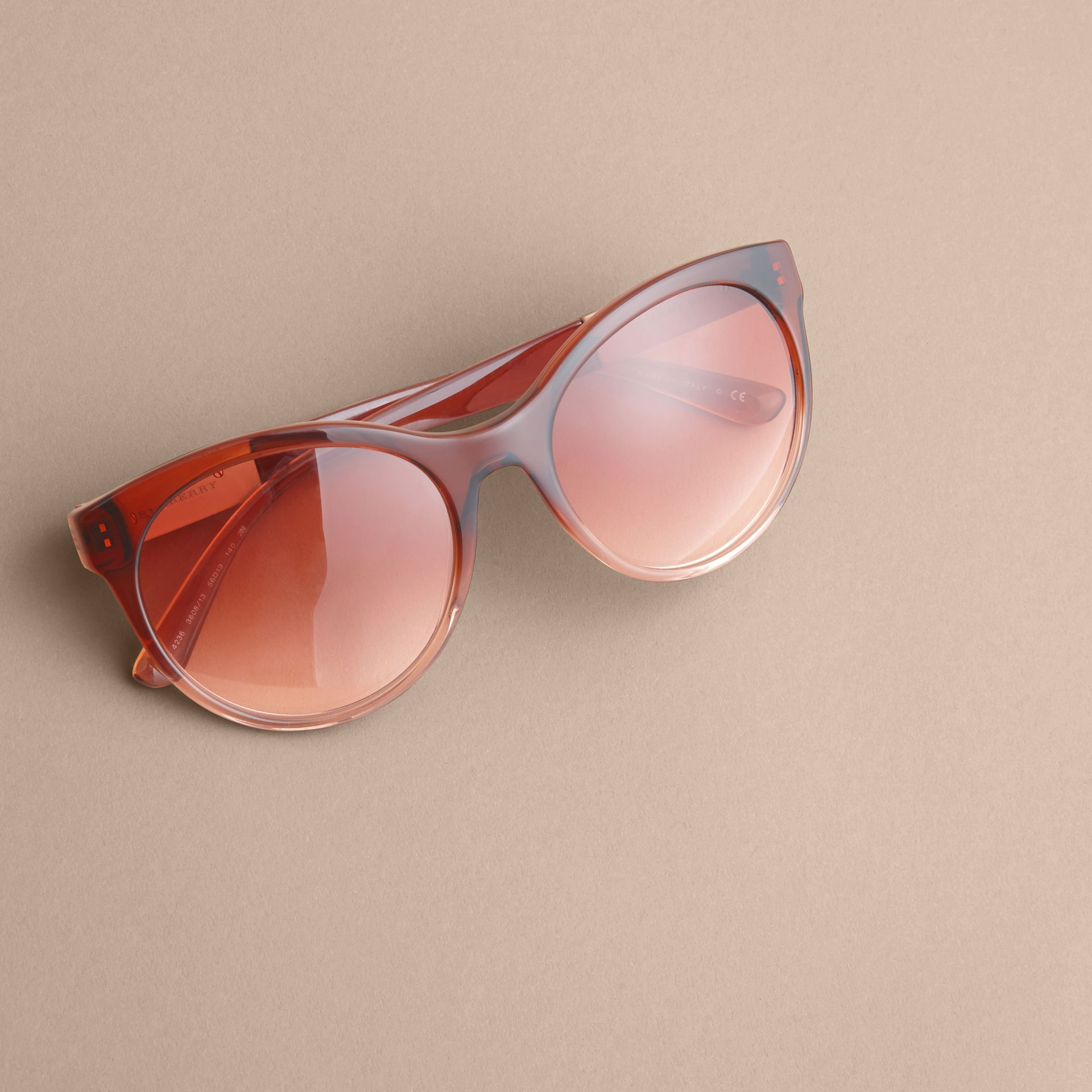Check Detail Round Frame Sunglasses in Rose - Women | Burberry Singapore - gallery image 3