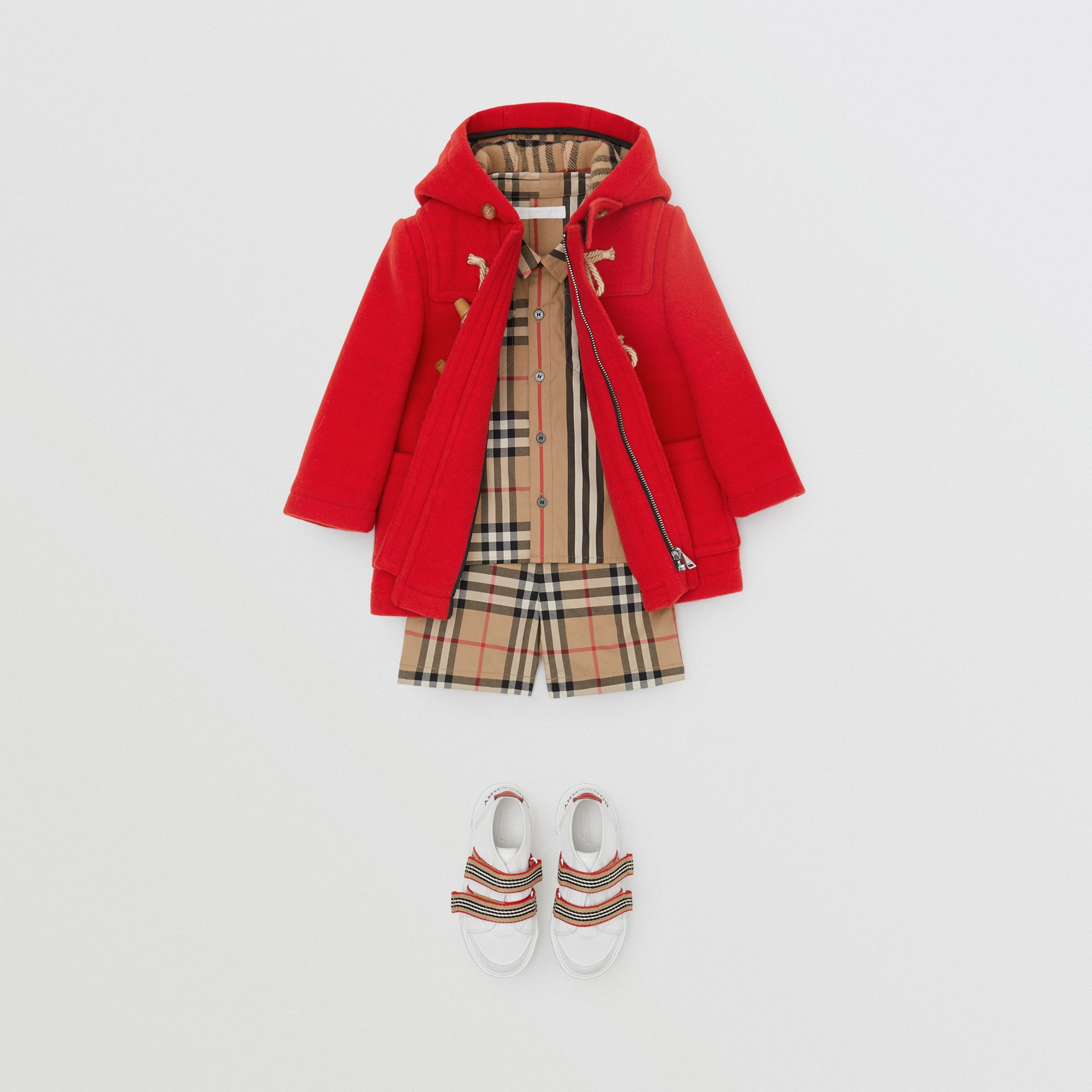 Boiled Wool Duffle Coat in Bright Red - Children | Burberry Australia - gallery image 3