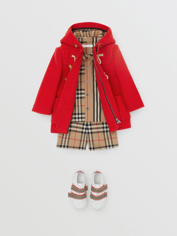 Boiled Wool Duffle Coat in Bright Red - Children | Burberry - cell image 3