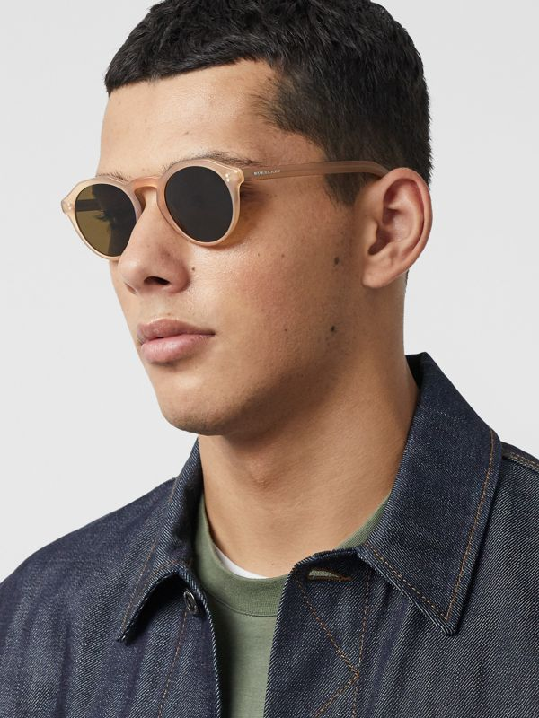 Keyhole Round Frame Sunglasses in Brown - Men | Burberry United States - cell image 3