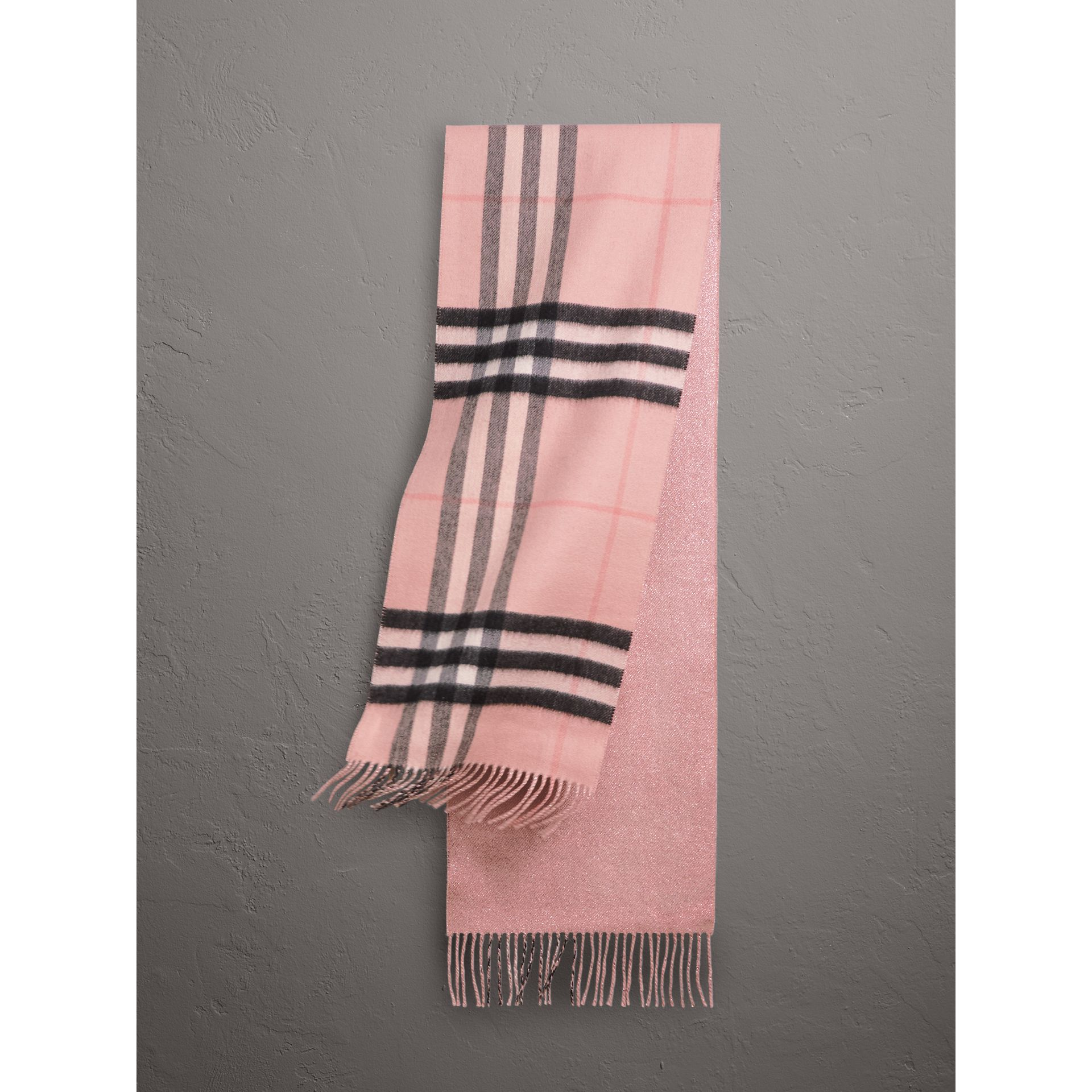 Reversible Metallic Check Cashmere Scarf in Ash Rose | Burberry United States - gallery image 1