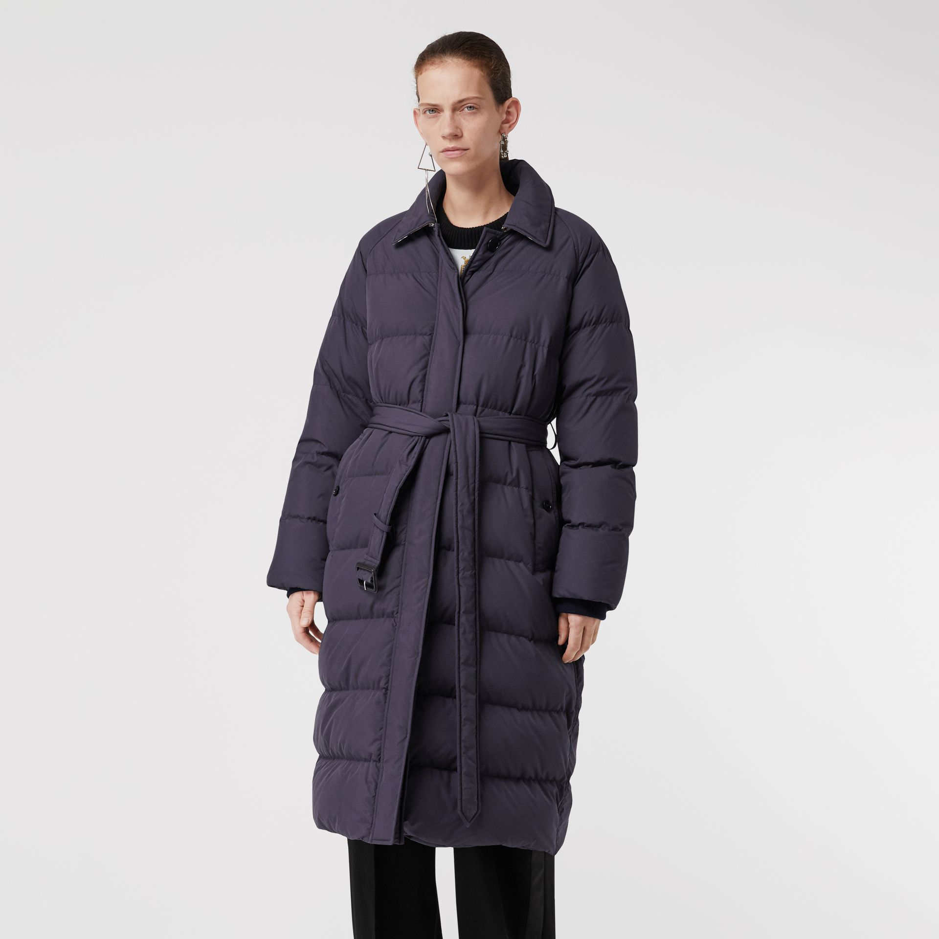 Belted Long Down-filled Puffer Coat in Navy - Women | Burberry - gallery image 5