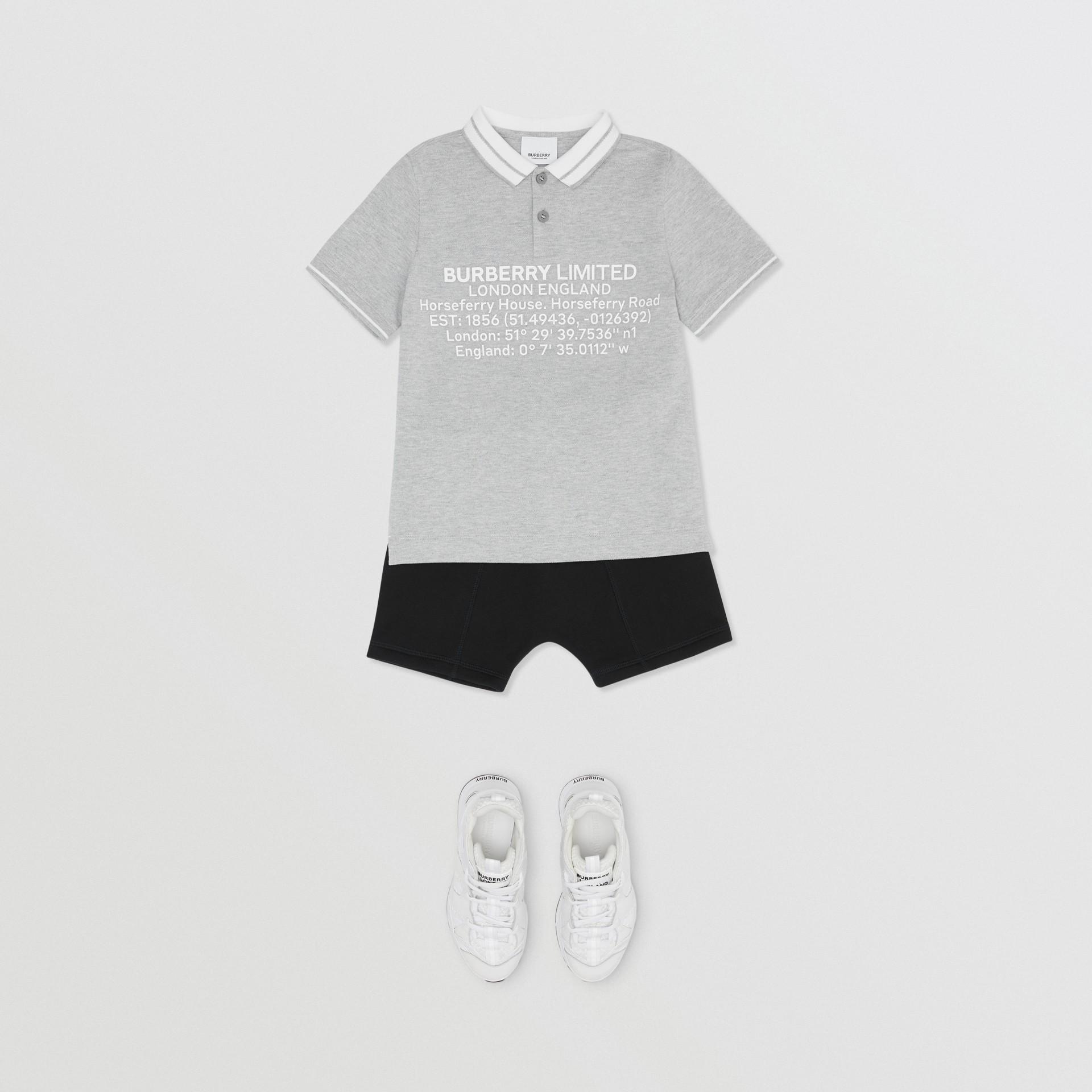Location Print Cotton Piqué Polo Shirt in Grey Melange | Burberry Hong Kong S.A.R - gallery image 2