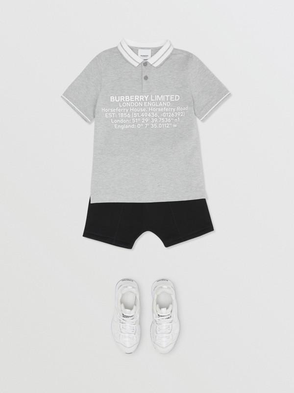 Location Print Cotton Piqué Polo Shirt in Grey Melange | Burberry Hong Kong S.A.R - cell image 2