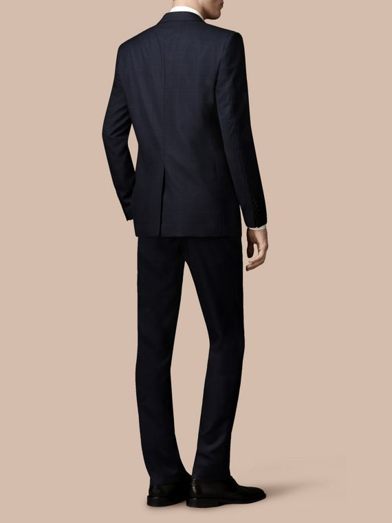 Navy Modern Fit Check Wool Part-canvas Suit Navy - cell image 2