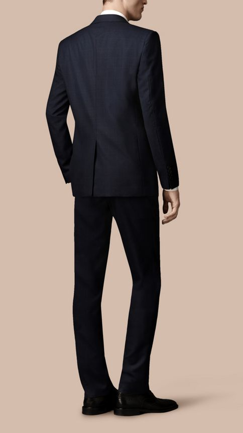 Navy Modern Fit Check Wool Part-canvas Suit Navy - Image 3