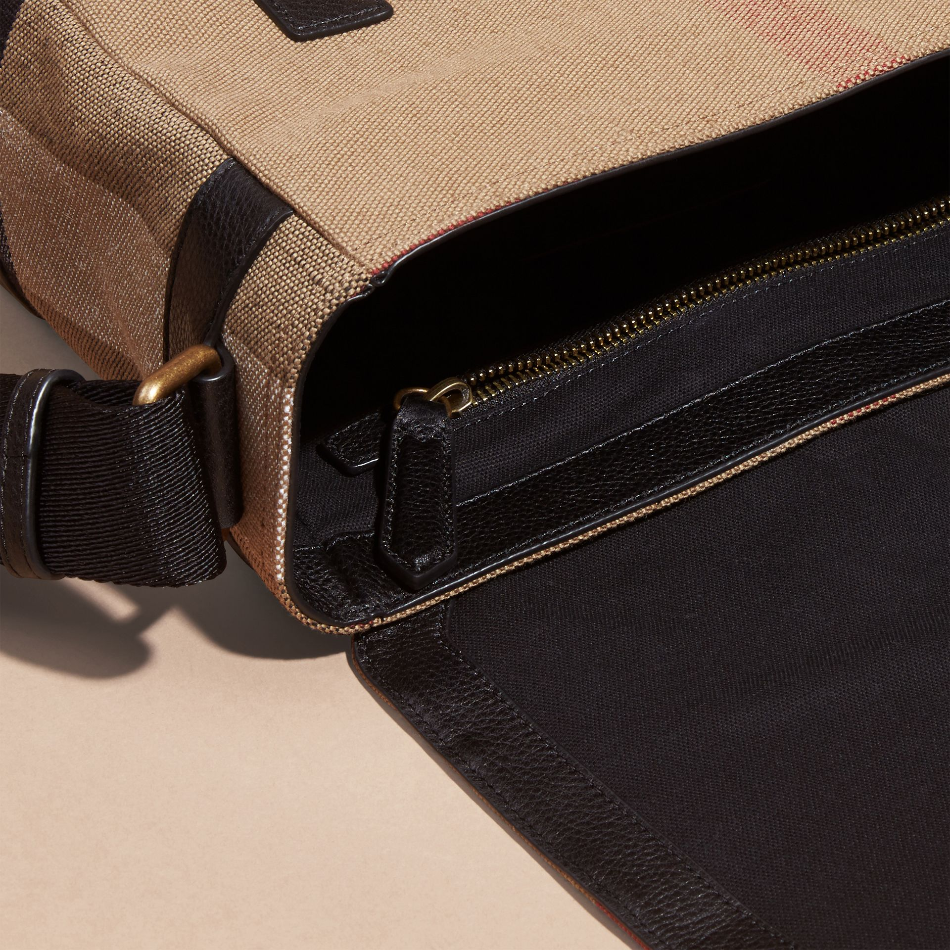 Black Leather Trim Canvas Check Messenger Bag - gallery image 6