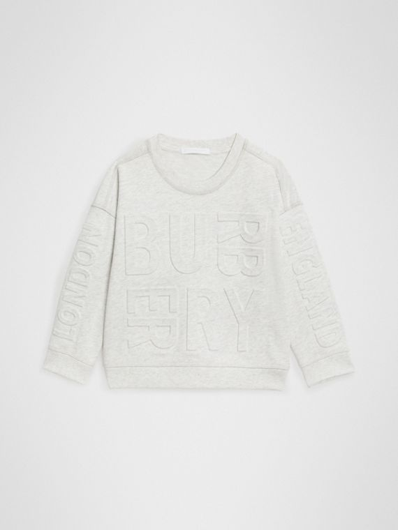 Embossed Logo Cotton Sweatshirt in White Melange