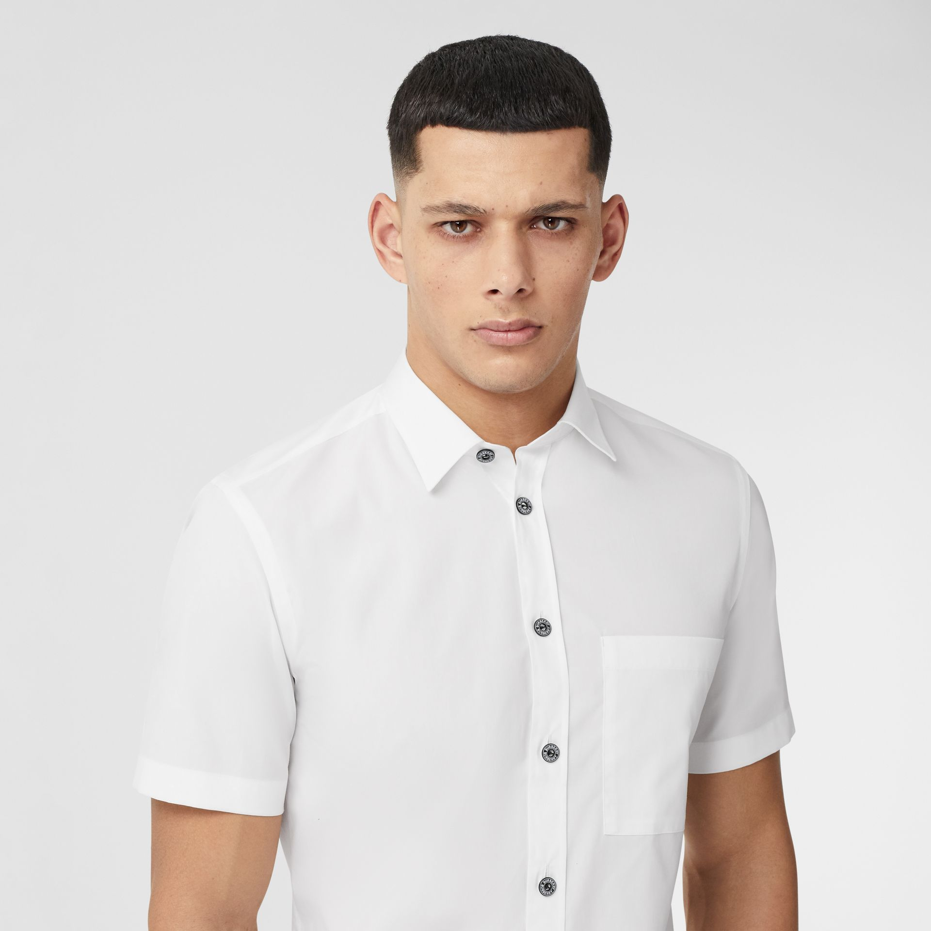 Short-sleeve Slim Fit Stretch Cotton Poplin Shirt in White - Men | Burberry - gallery image 1