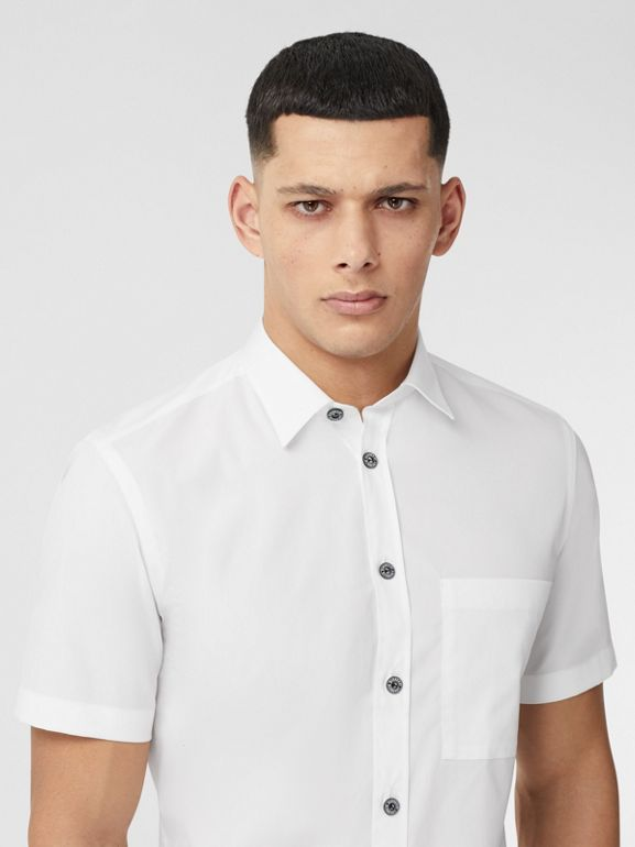Short-sleeve Slim Fit Stretch Cotton Poplin Shirt in White - Men | Burberry - cell image 1