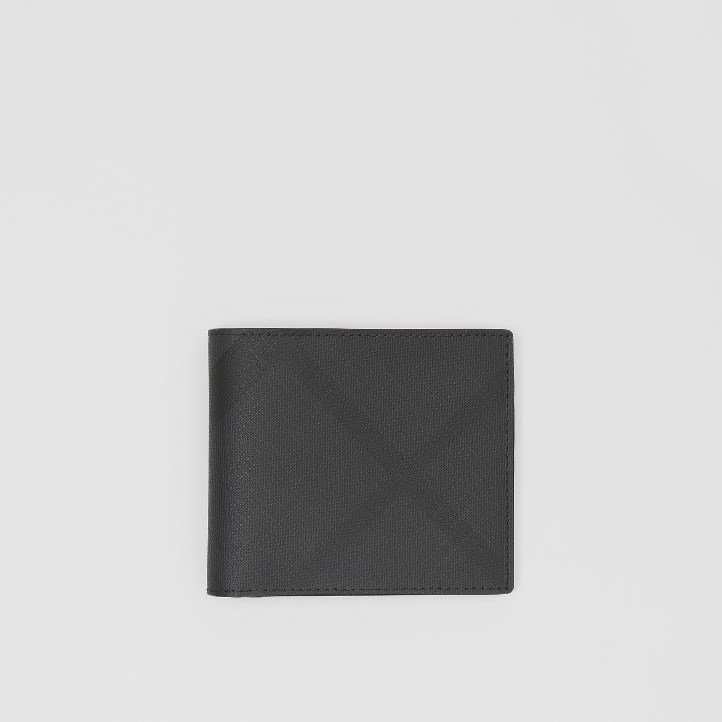 London Check and Leather International Bifold Wallet in Dark Charcoal - Men | Burberry Hong Kong S.A.R. - 1