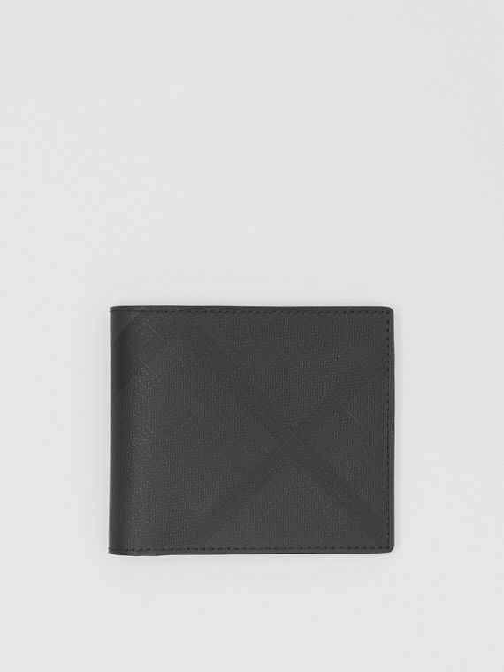 Cartera plegable a cuadros London Checks con interior en piel (Gris Marengo Oscuro)