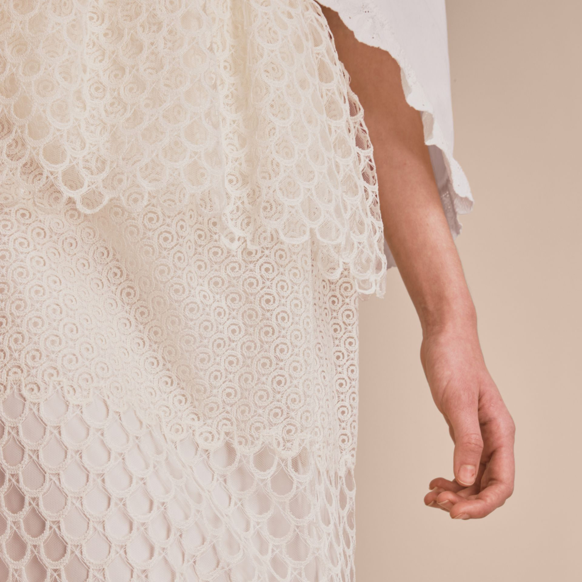 Macramé Lace Peplum Skirt in Natural White - Women | Burberry - gallery image 5