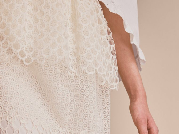 Macramé Lace Peplum Skirt in Natural White - Women | Burberry - cell image 4