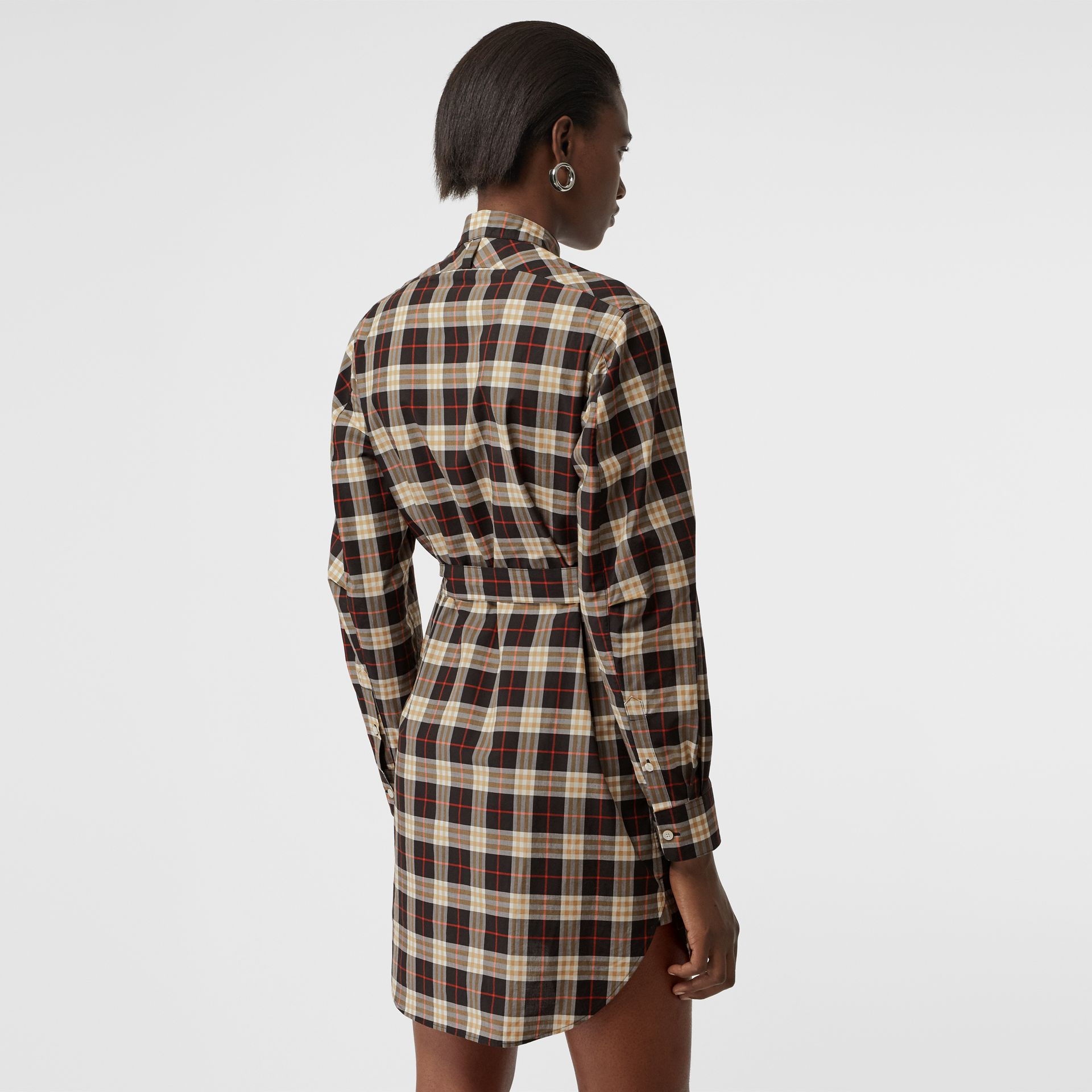 Check Cotton Tie-waist Shirt Dress in Midnight - Women | Burberry - gallery image 2