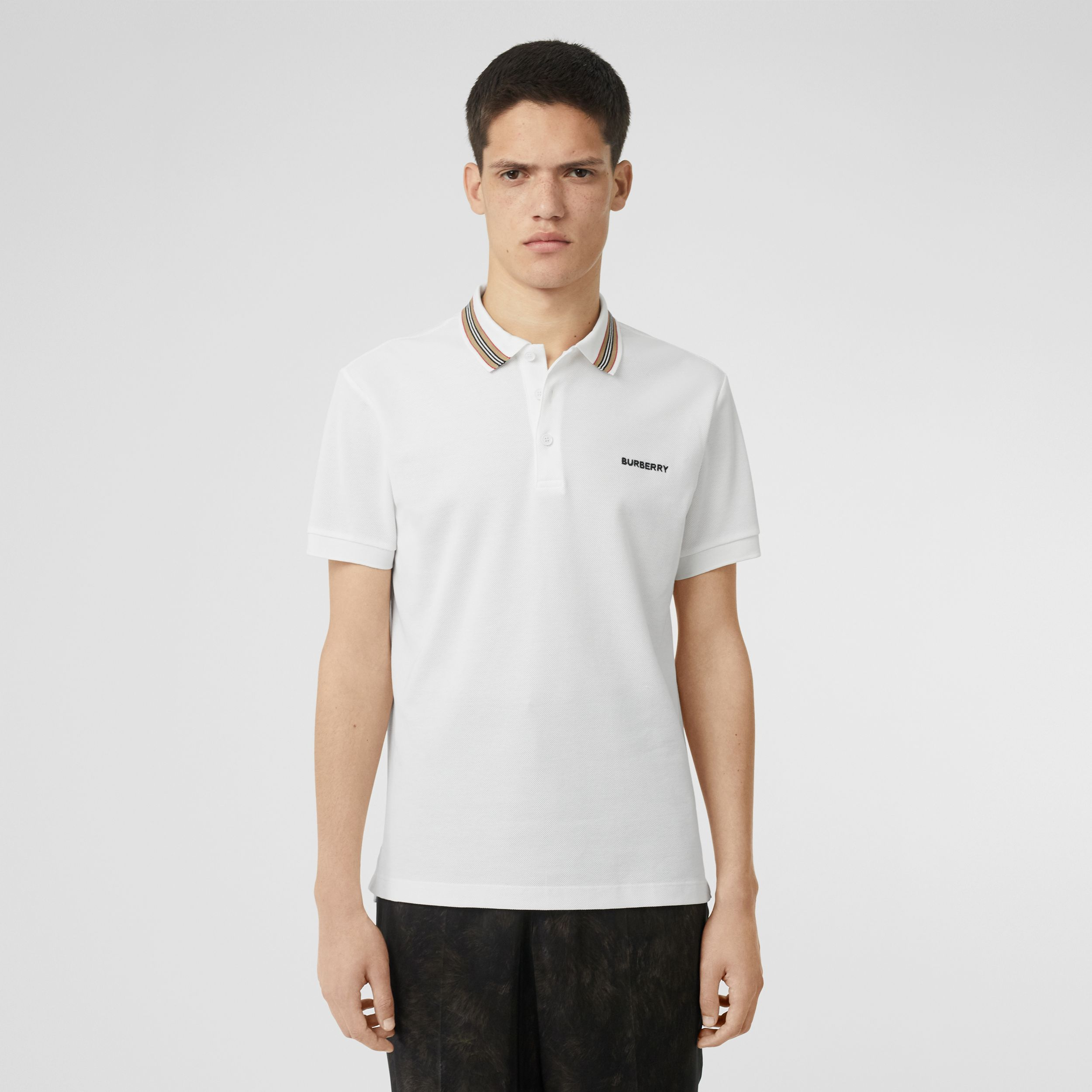 Icon Stripe Detail Cotton Piqué Polo Shirt in White - Men | Burberry - 1