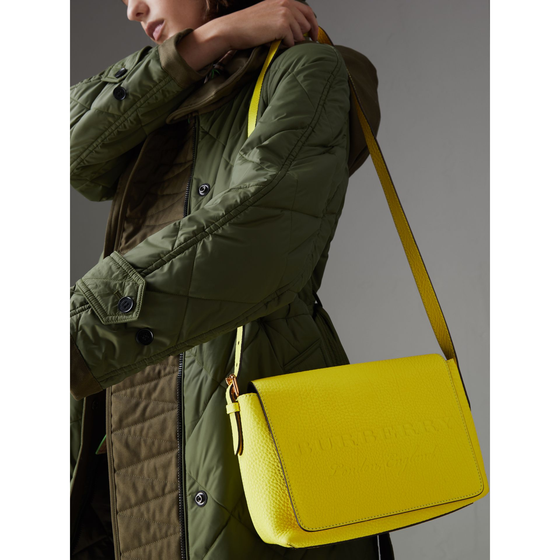 Small Embossed Neon Leather Messenger Bag in Yellow | Burberry - gallery image 4