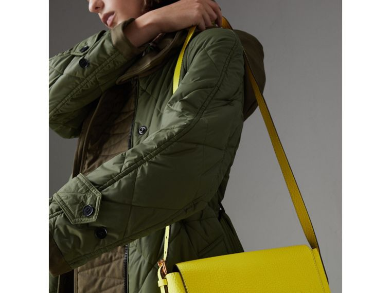 Small Embossed Neon Leather Messenger Bag in Yellow | Burberry - cell image 4