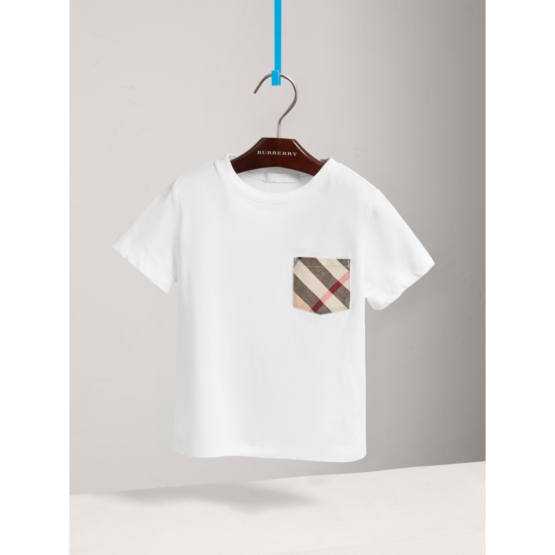 Long-sleeve Check Pocket Cotton T-shirt in White - Boy | Burberry - gallery image 0