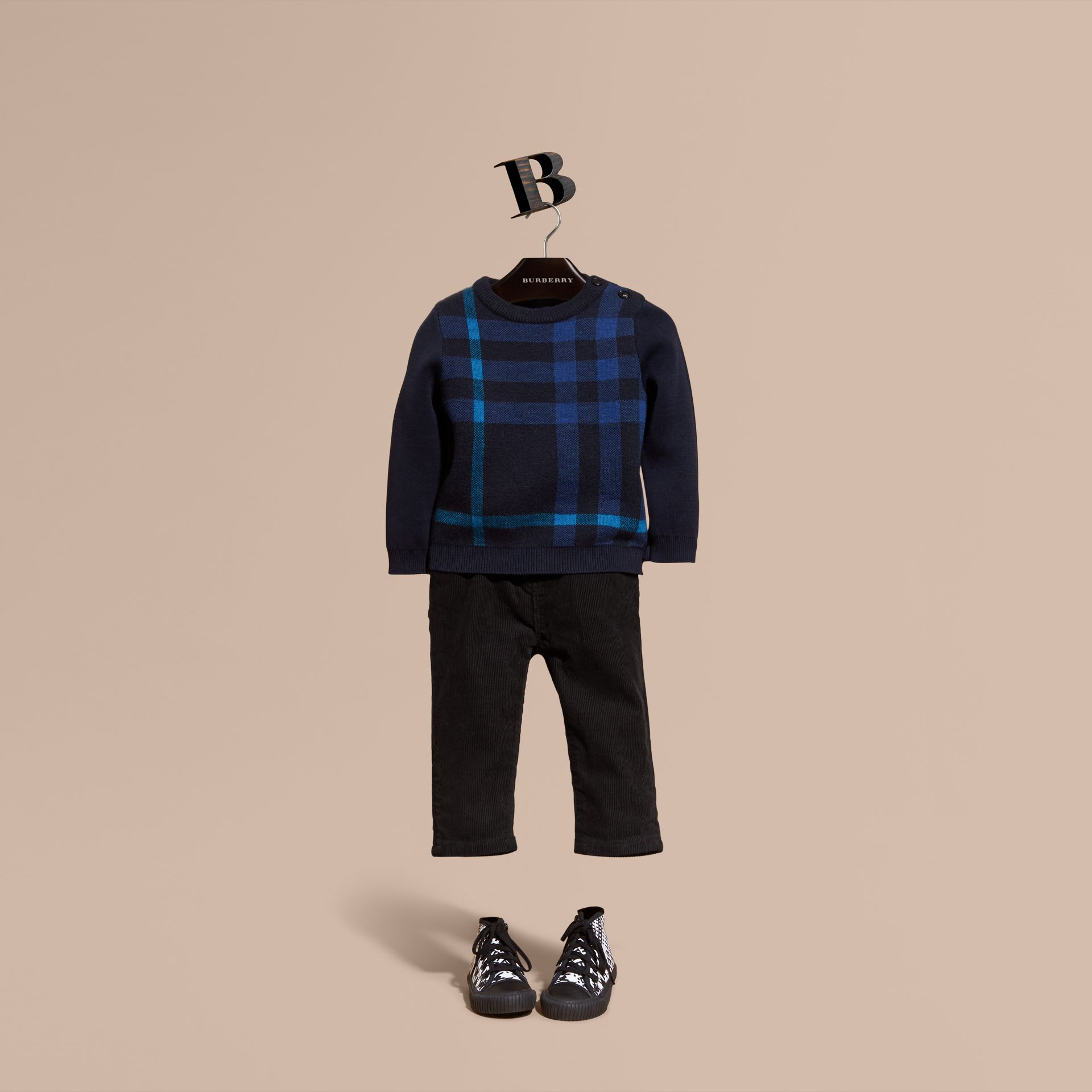 Navy Check Wool Cashmere Blend Sweater Navy - gallery image 1