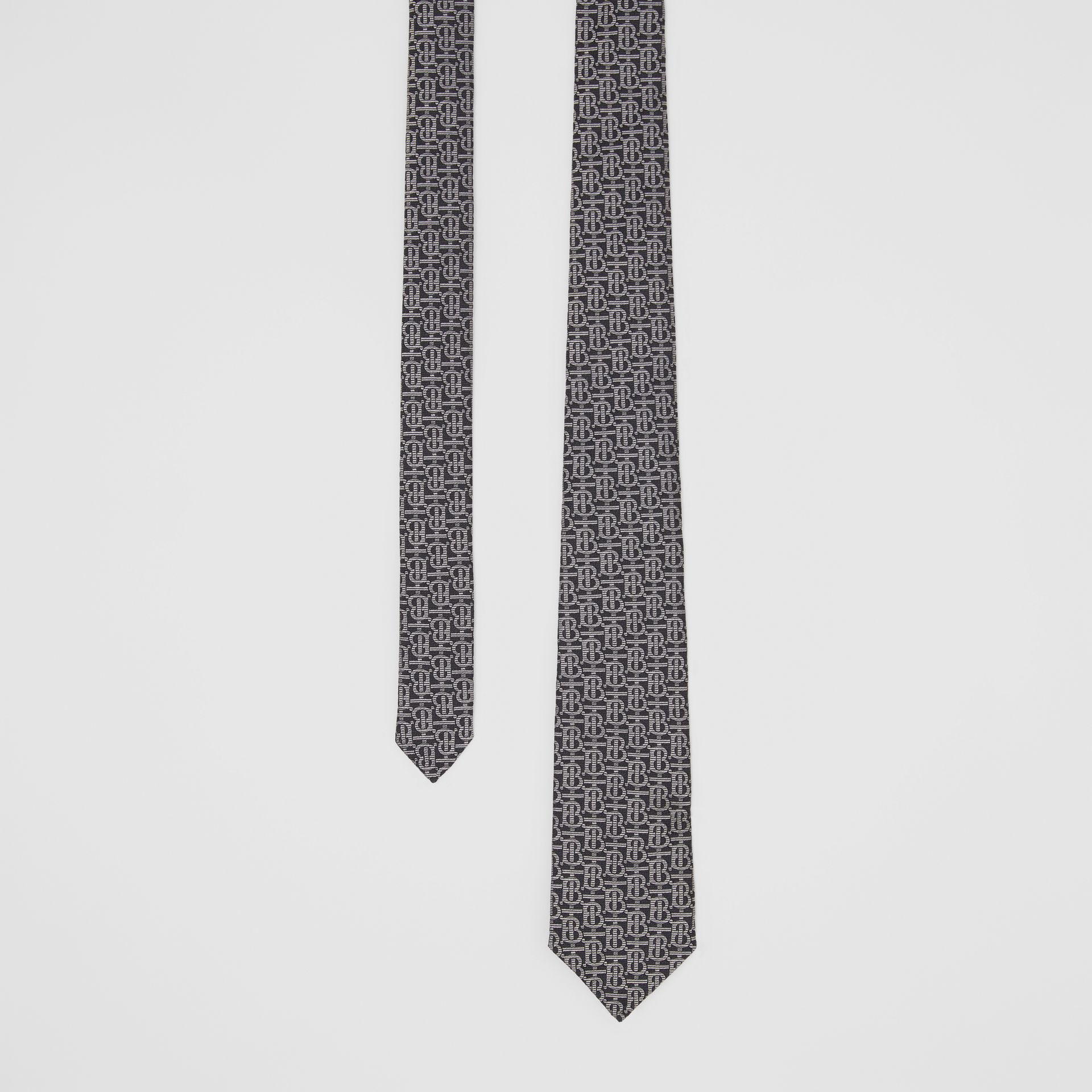 Classic Cut Monogram Silk Jacquard Tie in Mid Grey - Men | Burberry Singapore - gallery image 0