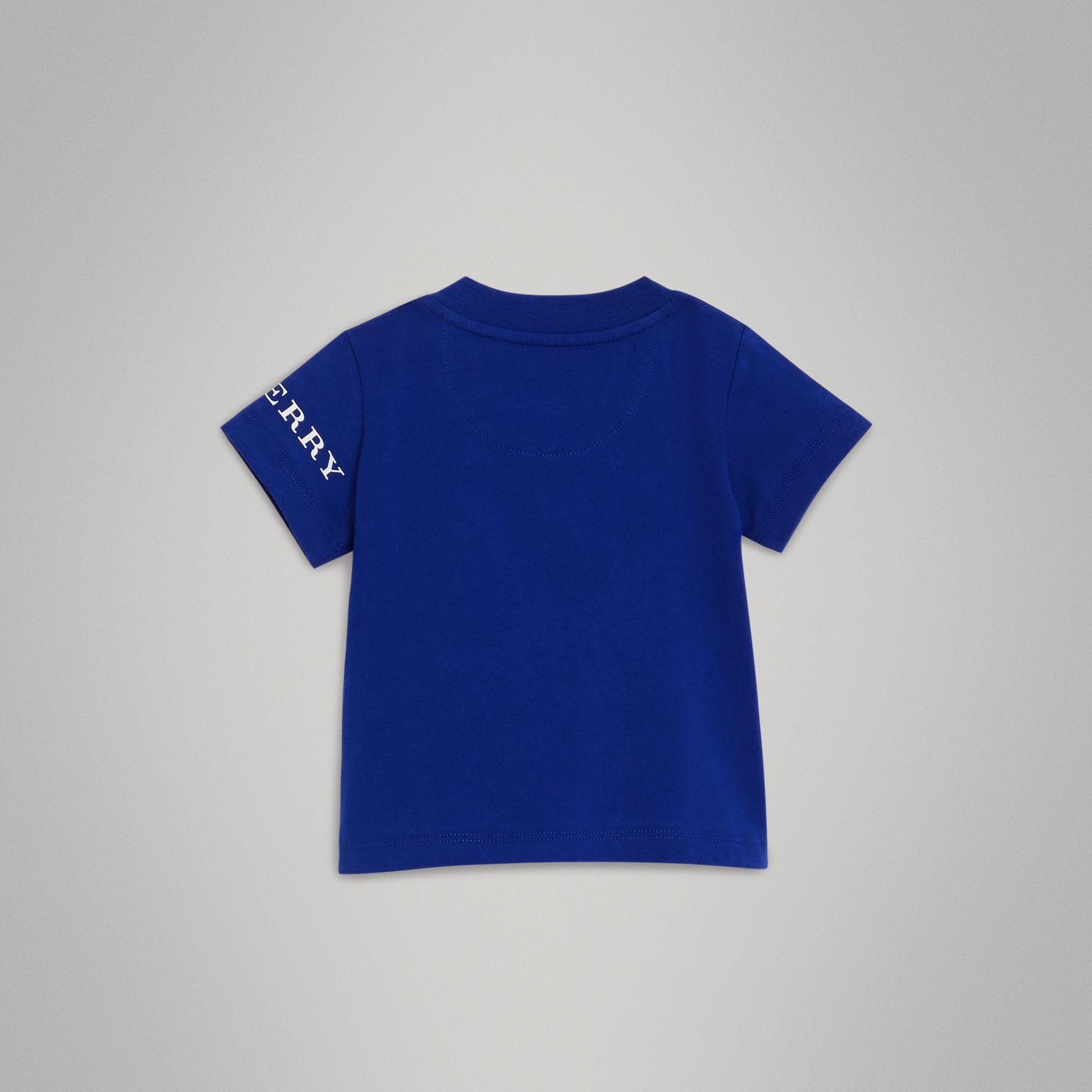 Logo Print Cotton T-shirt in Cobalt Blue - Children | Burberry Hong Kong - gallery image 3