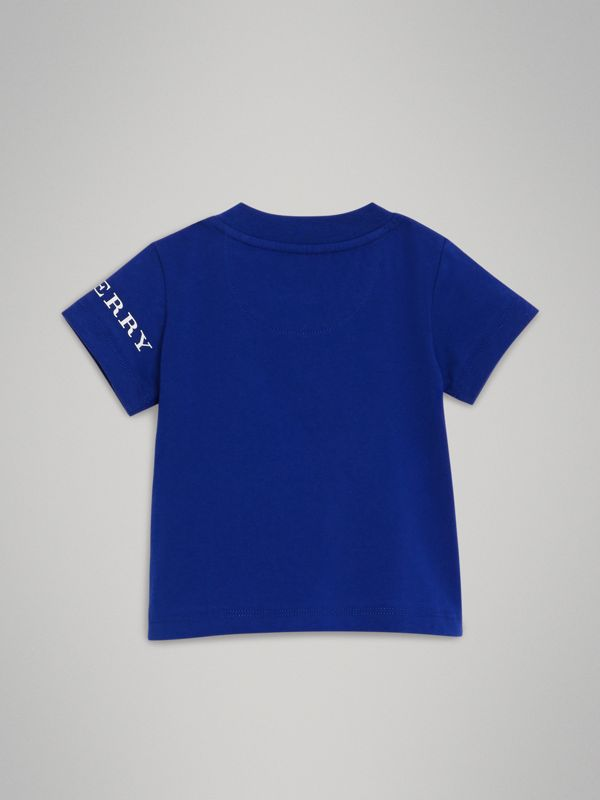 Logo Print Cotton T-shirt in Cobalt Blue - Children | Burberry United Kingdom - cell image 3