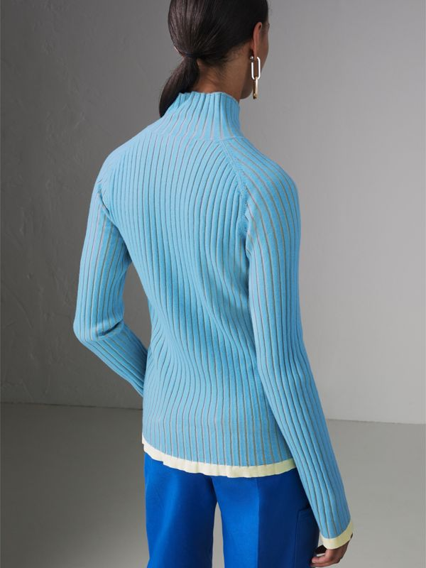 Silk Cashmere Turtleneck Sweater in Pale Blue - Women | Burberry United Kingdom - cell image 2