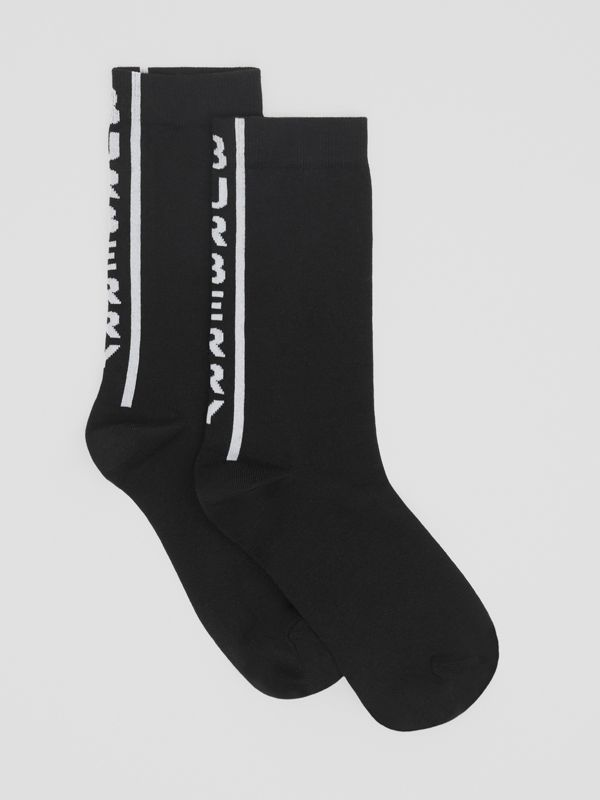 Logo Intarsia Cotton Blend Socks in White/black | Burberry - cell image 2