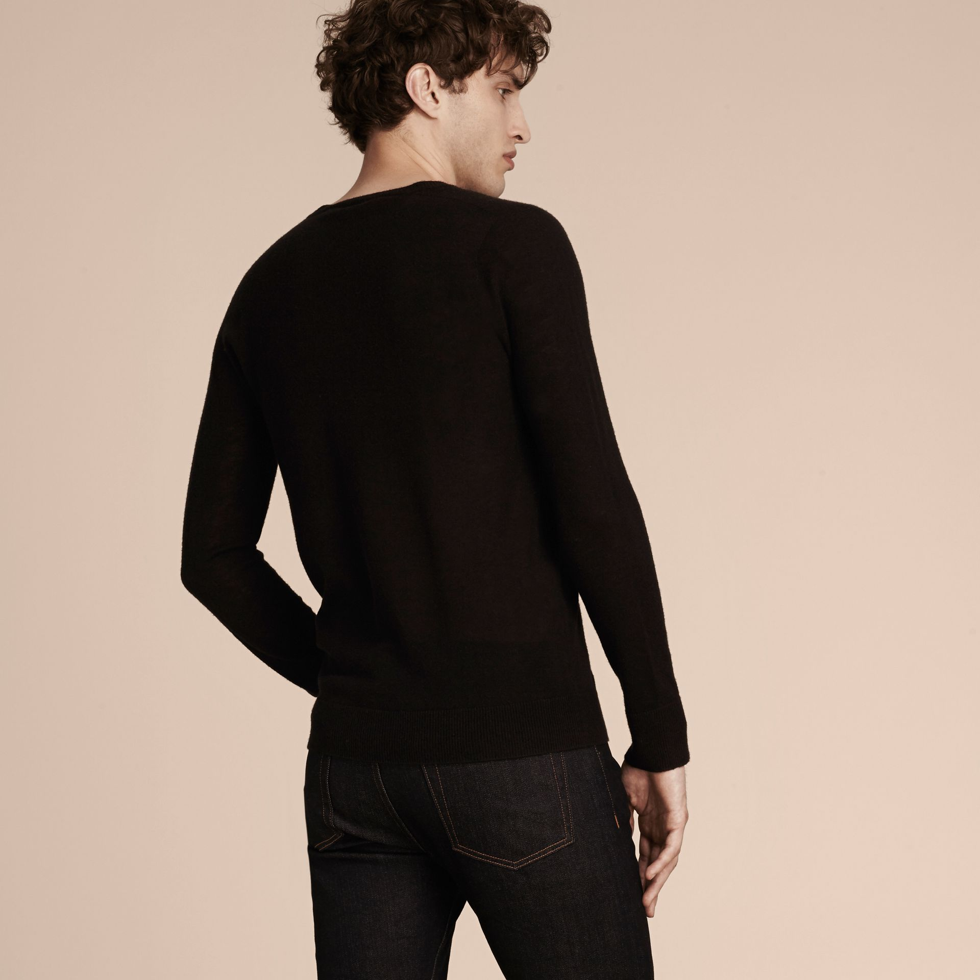 Black Cashmere V-neck Sweater Black - gallery image 3