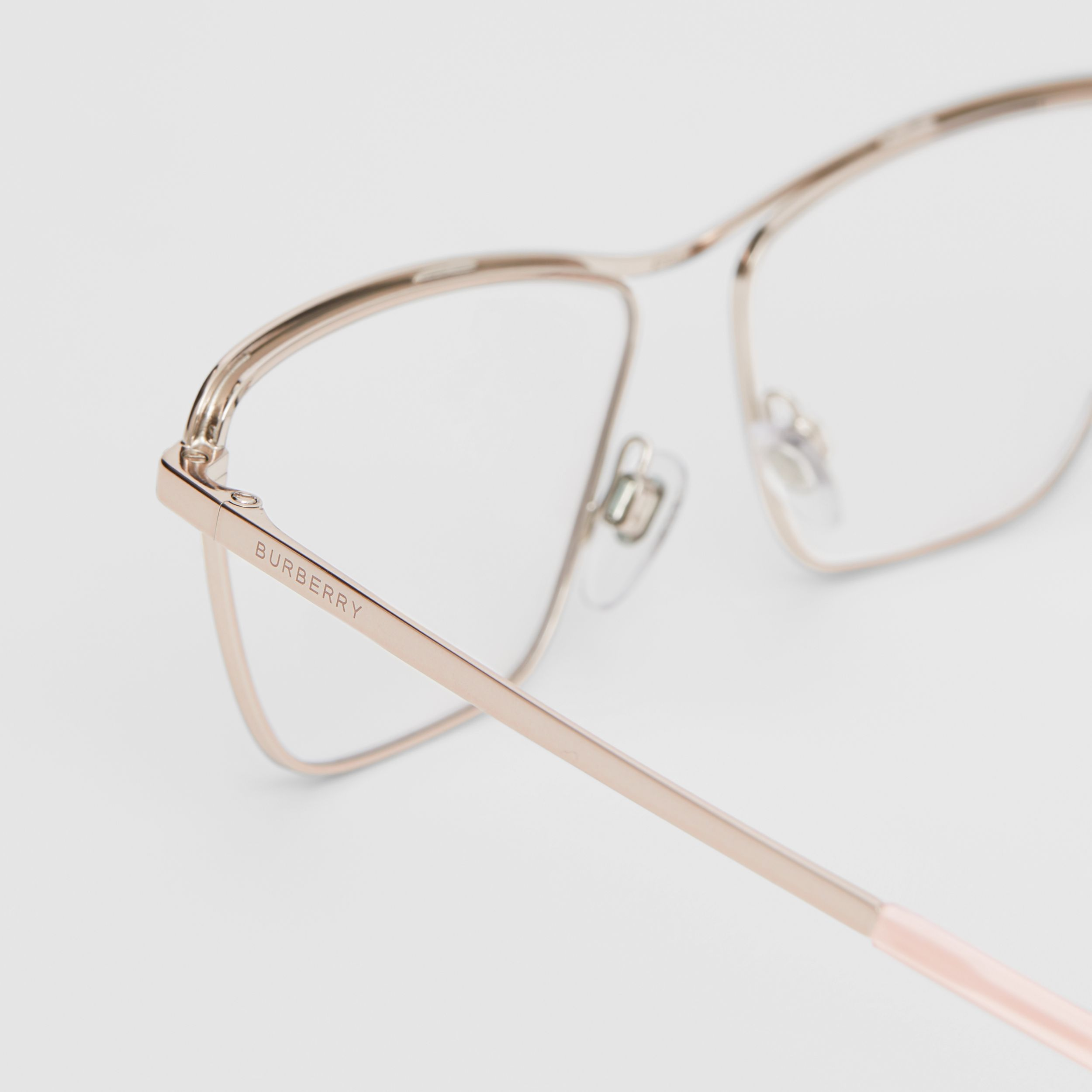 Rectangular Optical Frames in Rose Gold - Women | Burberry - 2