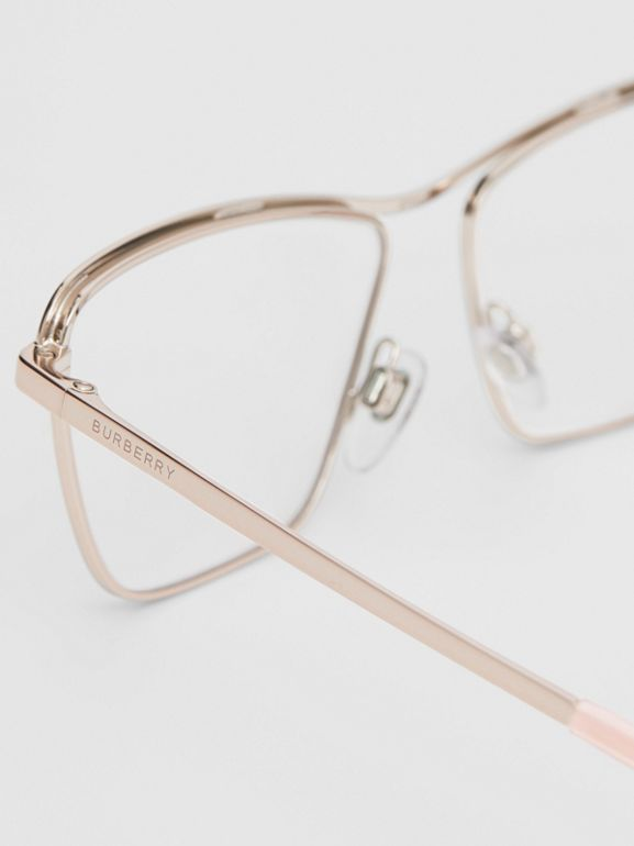 Rectangular Optical Frames in Rose Gold - Women | Burberry Australia - cell image 1