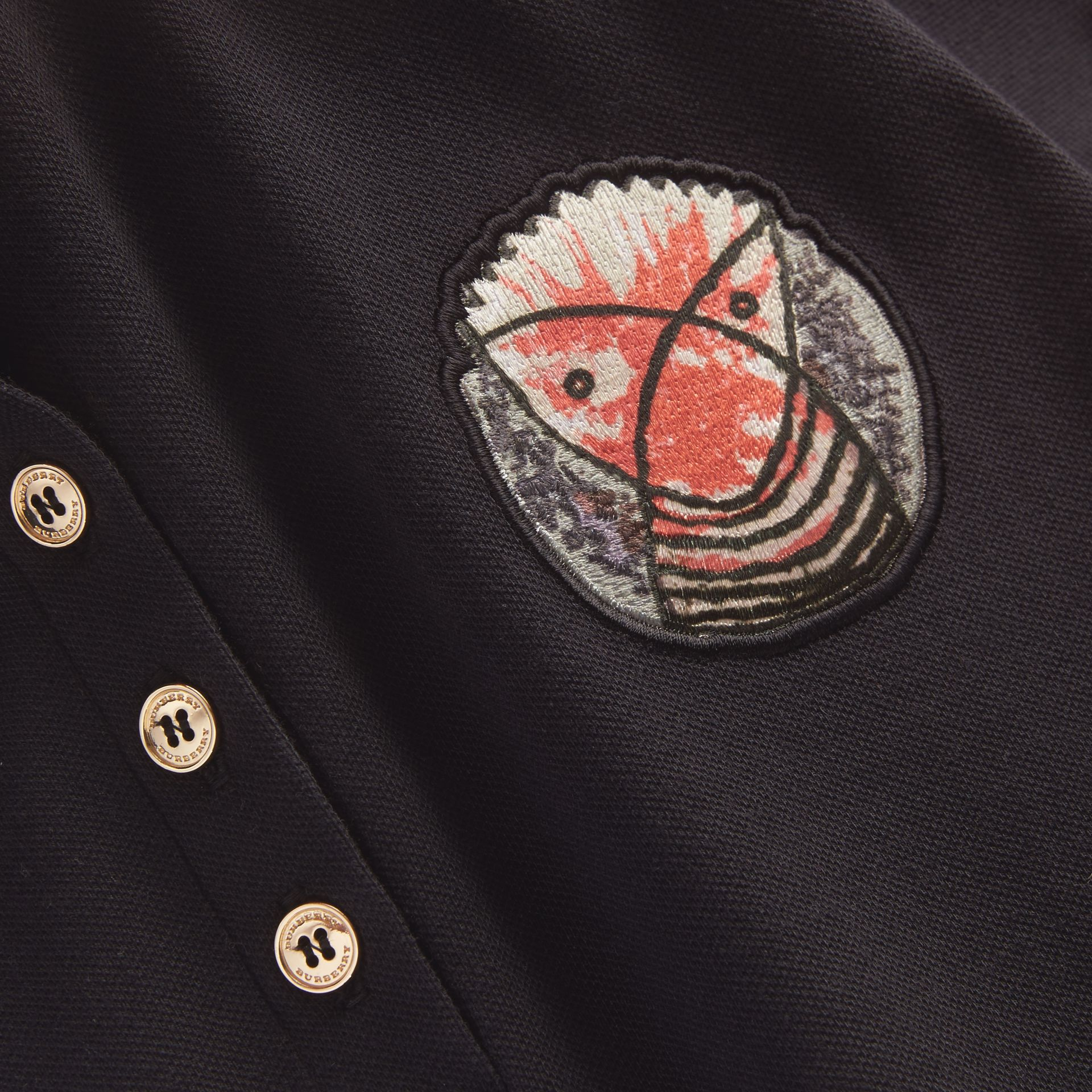 Pallas Heads Appliqué Cotton Piqué Polo Shirt Black - gallery image 2