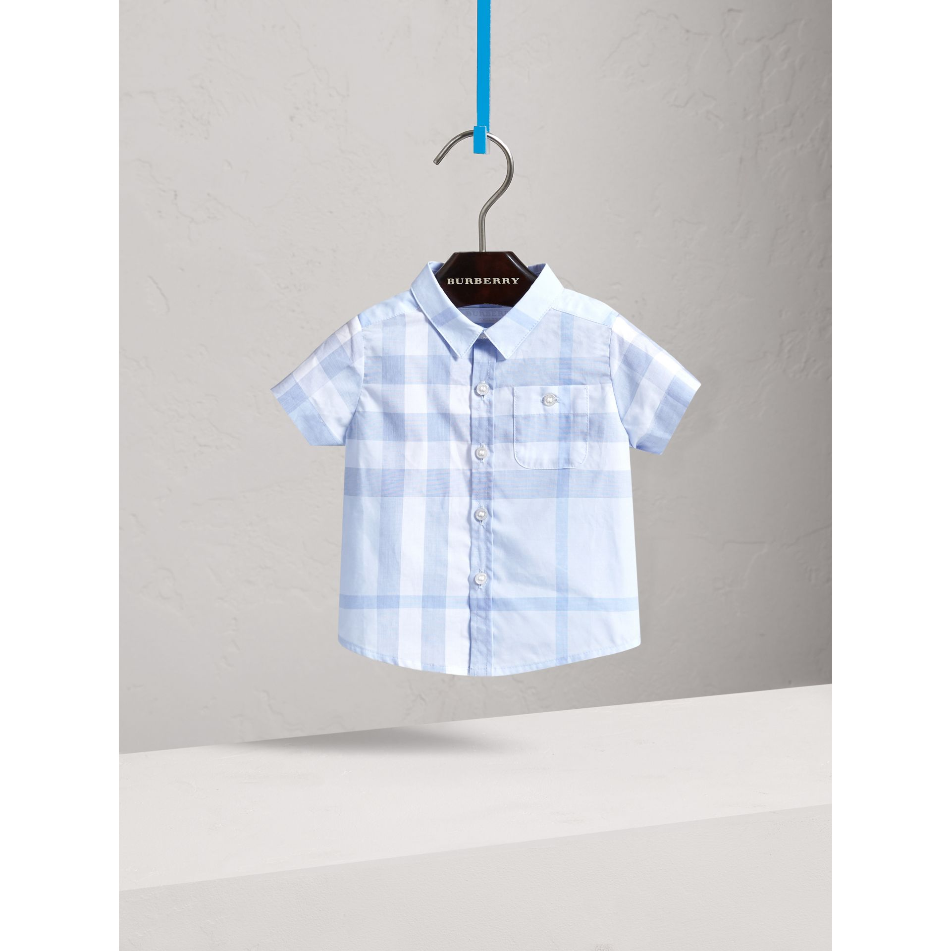 Short-sleeve Check Cotton Shirt in Ice Blue | Burberry - gallery image 0