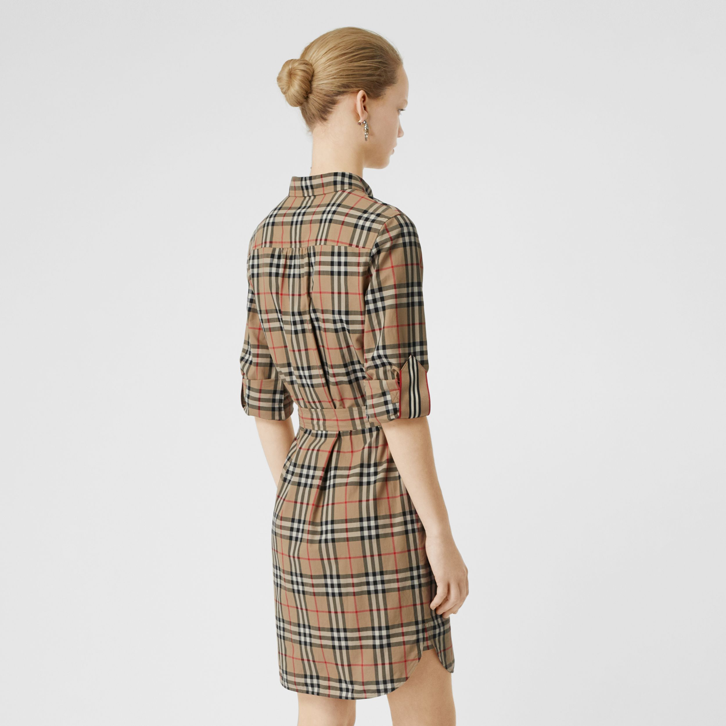 Vintage Check Cotton Tie-waist Shirt Dress in Archive Beige - Women | Burberry Hong Kong S.A.R. - 3