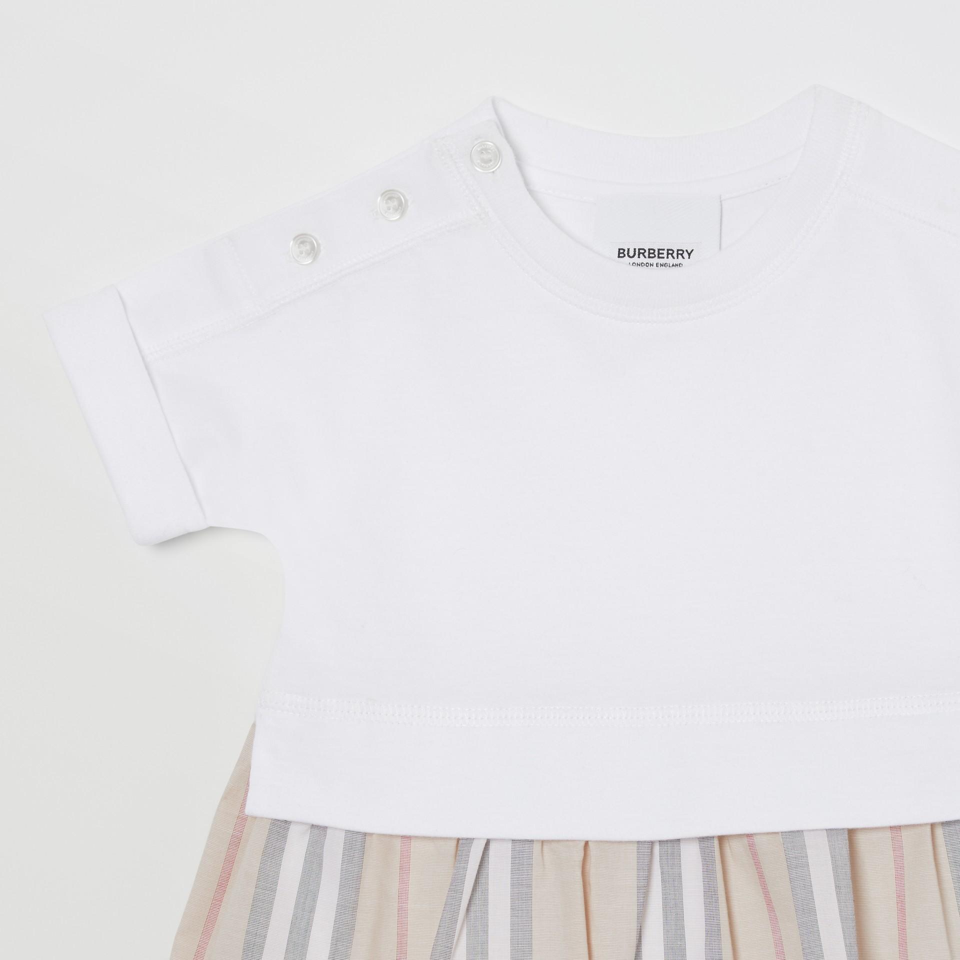 Icon Stripe Skirt Cotton Bodysuit in White - Children | Burberry Singapore - gallery image 4