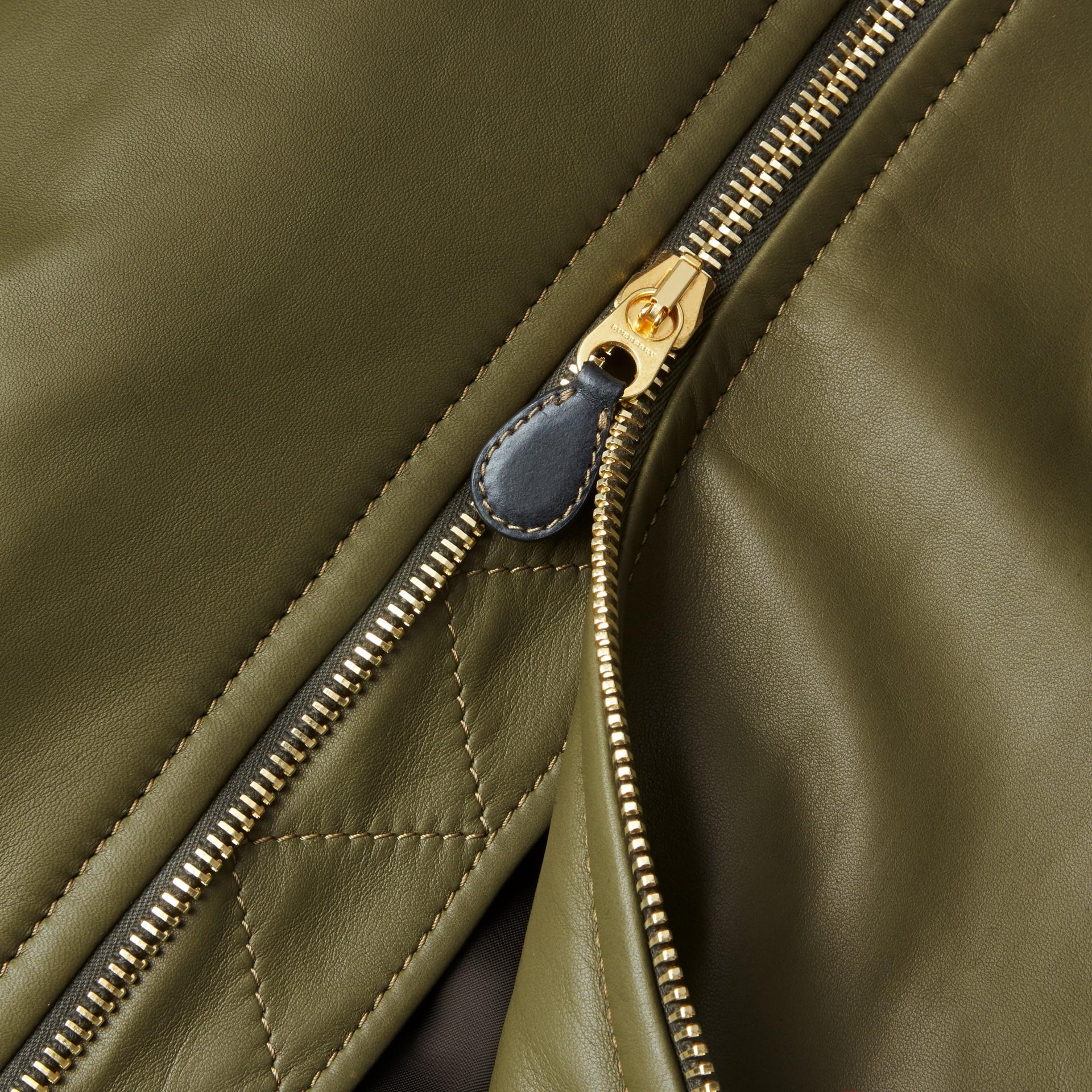 Светлый армейский зеленый Кожаная куртка «пилот» - изображение 2