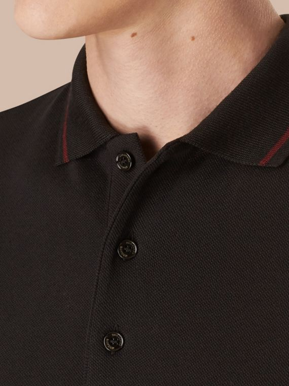 Black/mahogany red Contrast Tipping Cotton Piqué Polo Shirt - cell image 3