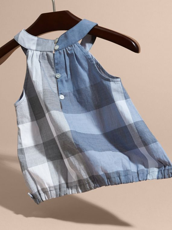 Gathered Check Cotton Top in Canvas Blue | Burberry - cell image 3