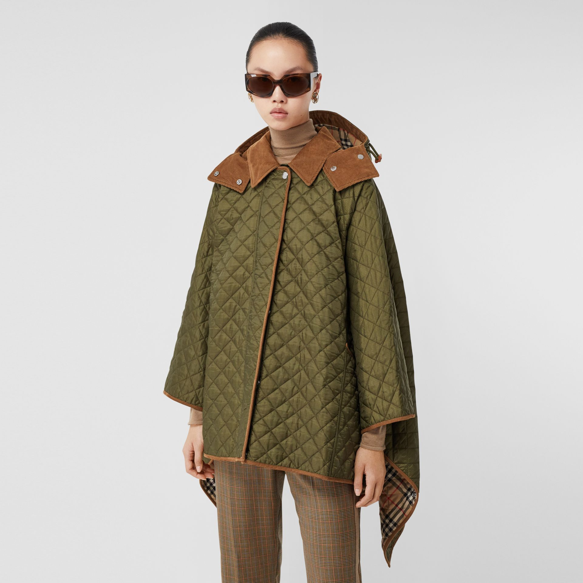 Corduroy Trim Quilted Hooded Cape in Military Olive - Women   Burberry United States - gallery image 6