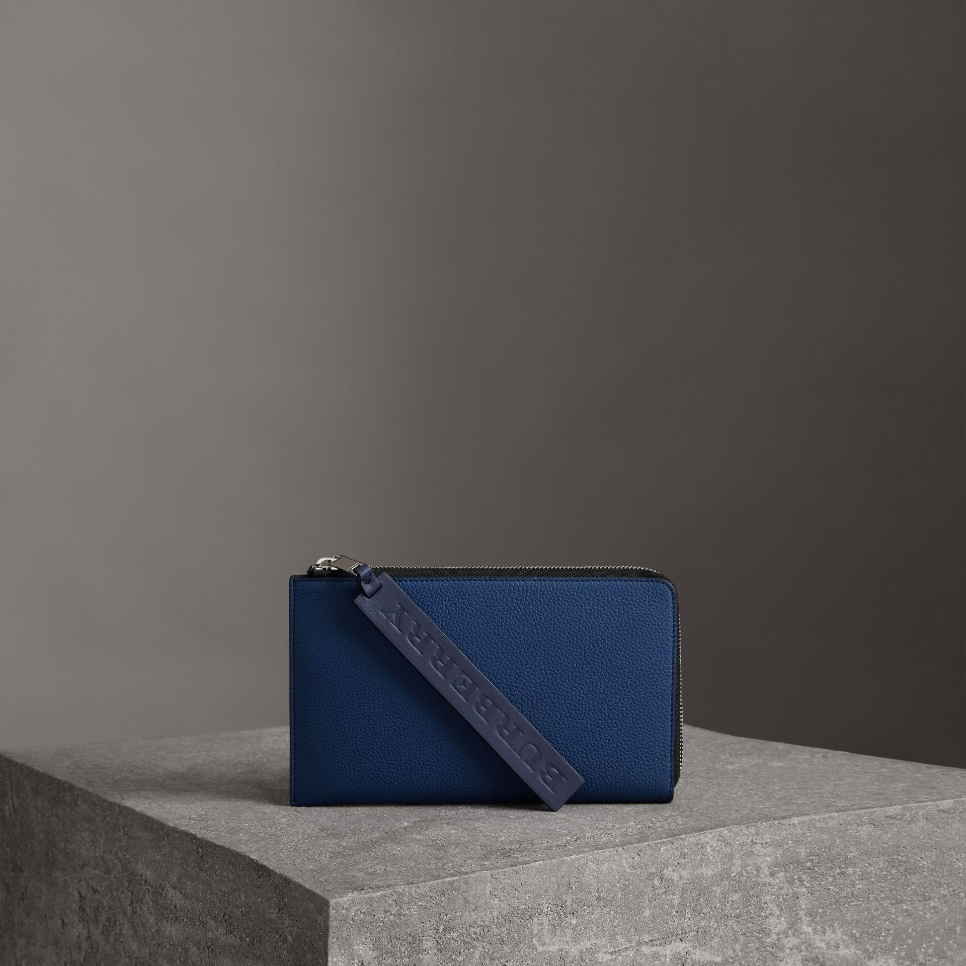 Two-tone Grainy Leather Travel Wallet in Bright Ultramarine - Men | Burberry - gallery image 0