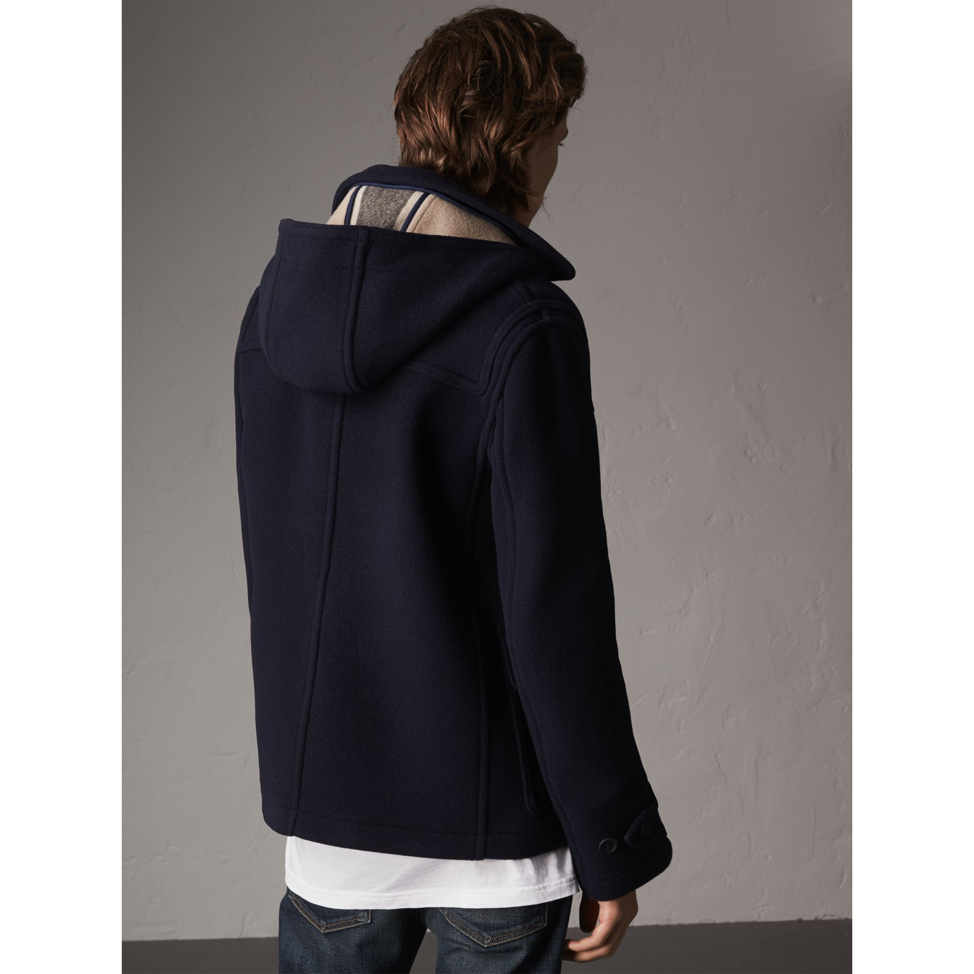 Wool Duffle Jacket with Detachable Hood in Navy - Men | Burberry - gallery image 3
